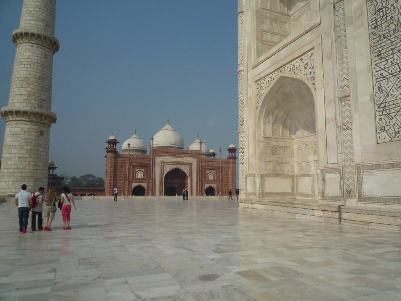 Marmorfront des Taj Mahal in Agra
